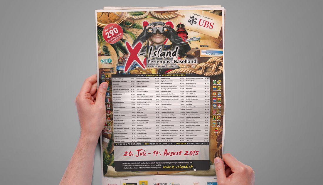 Ferienpass X-Island Baselland - Zeitungsinserat